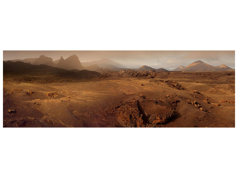 Tableau sur Toile Panoramique Volcanic Landscape In The Morning Fog
