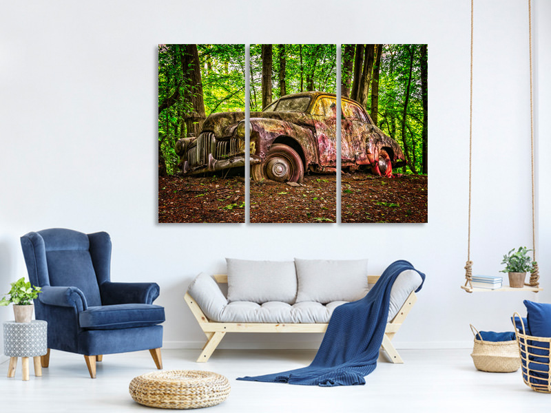 3 Piece Canvas Print Abandoned classic car