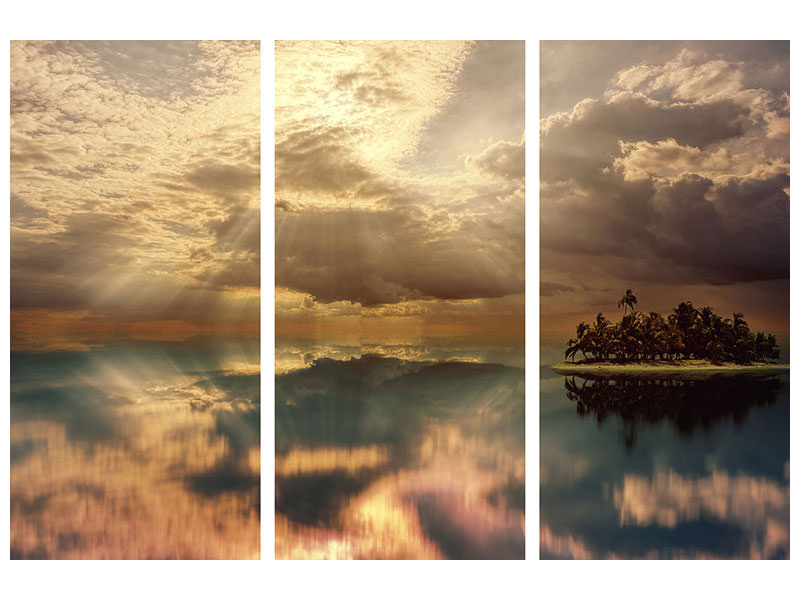 3 Piece Canvas Print Light spectacle on the sea