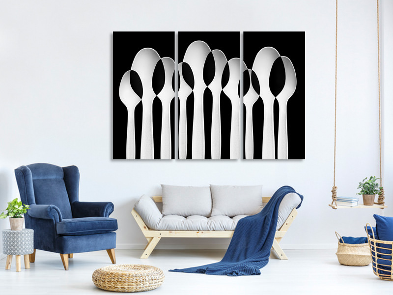 3 Piece Canvas Print Spoons Abstract: Forest