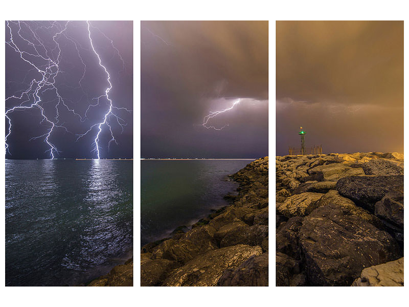 Stampa su tela 3 pezzi When Lightning Strikes