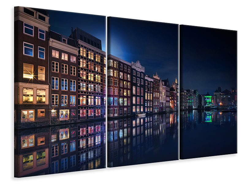 Tableau sur Toile en 3 parties Amsterdam Windows Colors