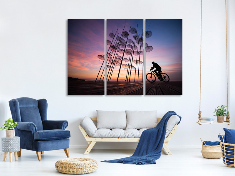 3 Piece Canvas Print Umbrellas