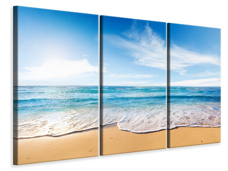 3 Piece Canvas Print Waves In The Sand