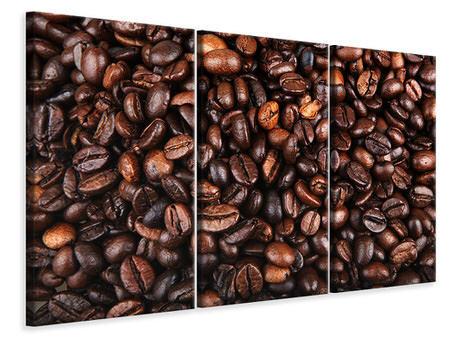 3 Piece Canvas Print Coffee Beans In XXL