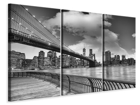 3 Piece Canvas Print Skyline Black And White Photography Brooklyn Bridge NY