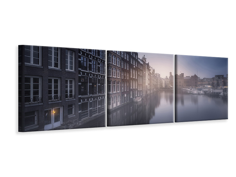 Tableau sur toile en 3 parties panoramique Amsterdam Morning III