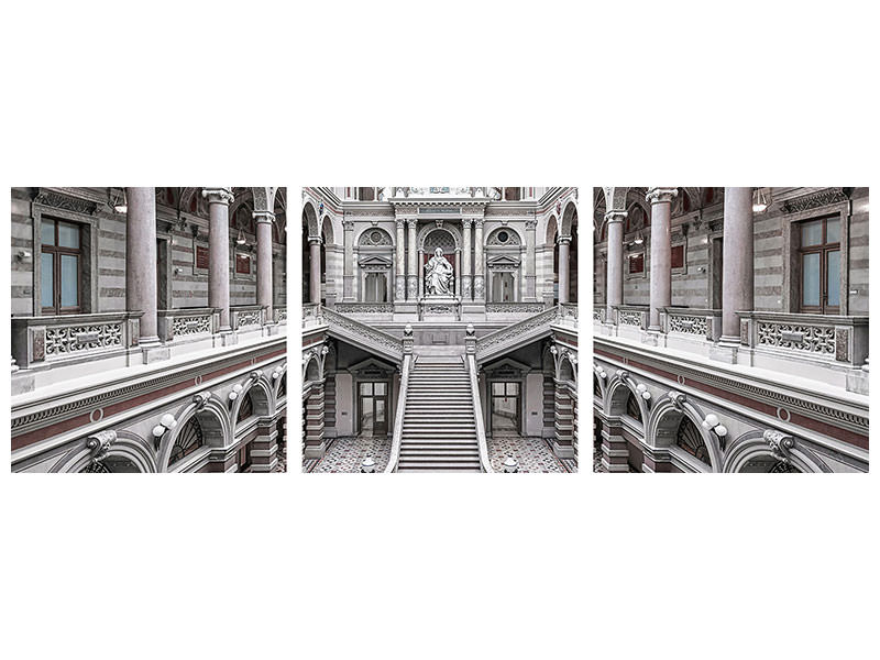 Panoramic 3 Piece Canvas Print Justizpalast, Vienna