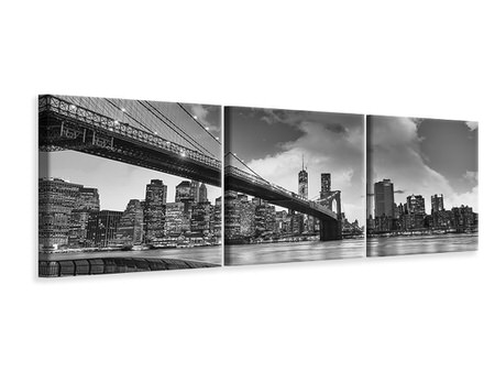 Panoramic 3 Piece Canvas Print Skyline Black And White Photography Brooklyn Bridge NY
