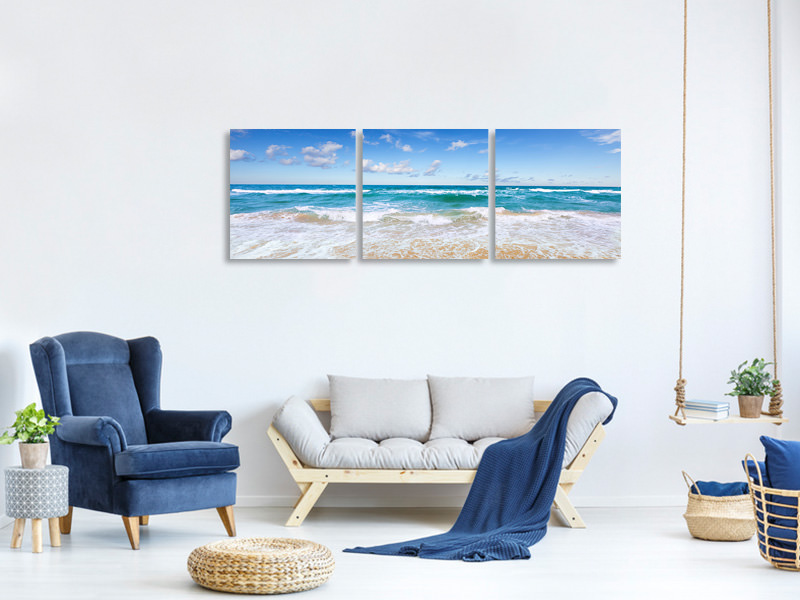 Panoramic 3 Piece Canvas Print The Tides And The Sea
