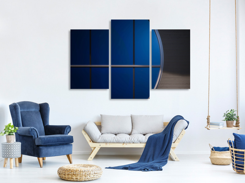 Modern 3 Piece Canvas Print Window In Blue