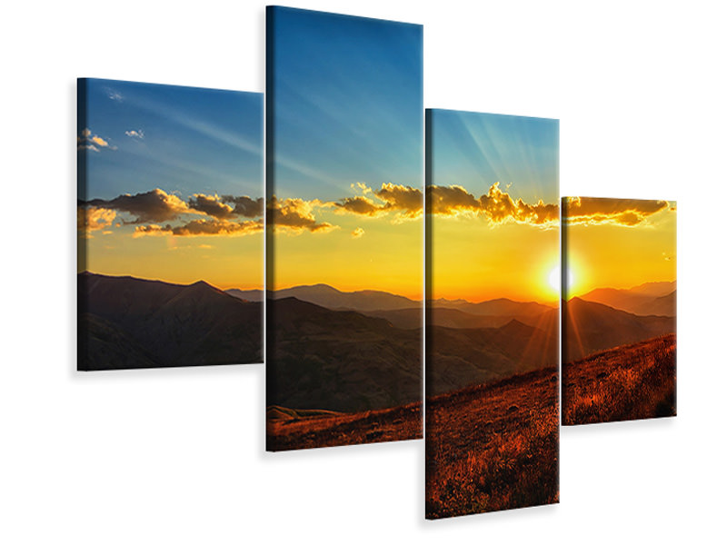 Modern 4 Piece Canvas Print Sunset in the world of mountains