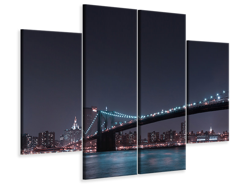 Stampa su tela 4 pezzi Manhattan Skyline And Brooklyn Bridge