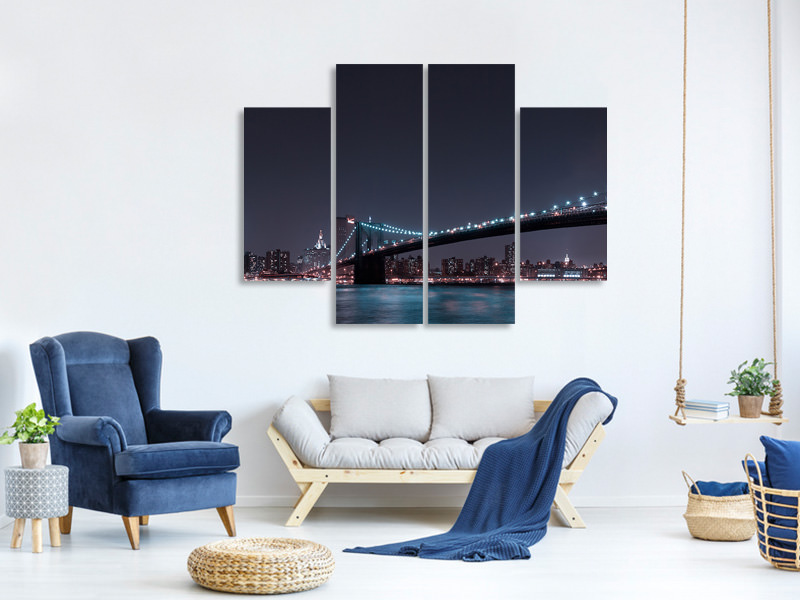 Tableau sur Toile en 4 parties Manhattan Skyline And Brooklyn Bridge
