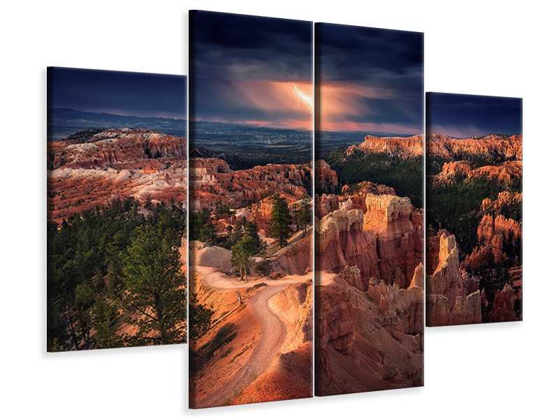 4 Piece Canvas Print Lightning Over Bryce Canyon