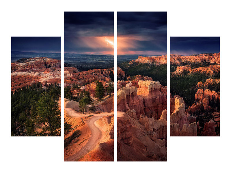 Tableau sur Toile en 4 parties Lightning Over Bryce Canyon