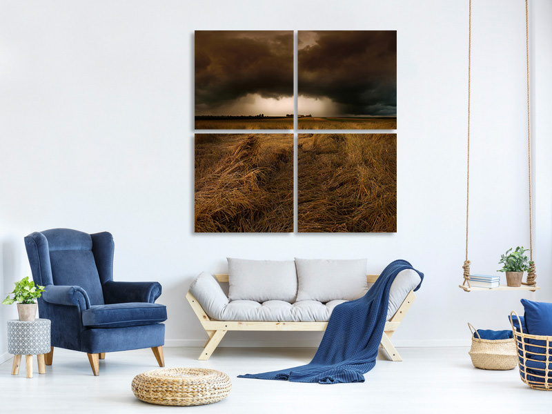4 Piece Canvas Print Straw Country