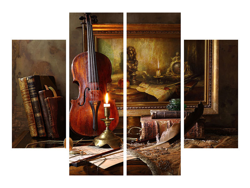 Stampa su tela 4 pezzi Still Life With Violin And Painting II