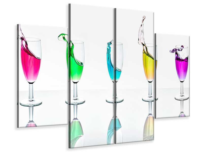 4 Piece Canvas Print Splashes