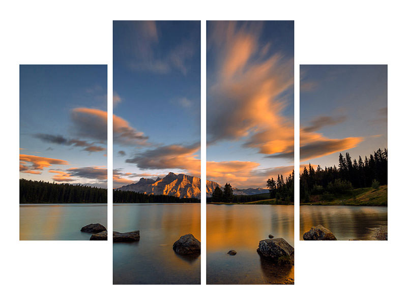 4 Piece Canvas Print Two Jack Lake Sunset