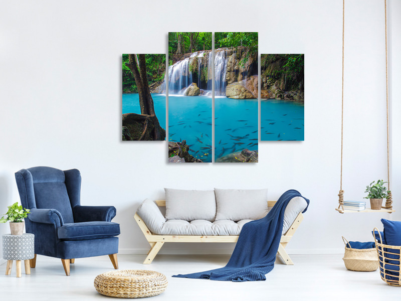 4 Piece Canvas Print Nature Waterfall