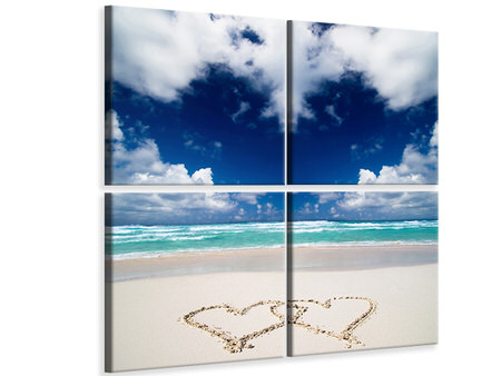 4 Piece Canvas Print Beach Love
