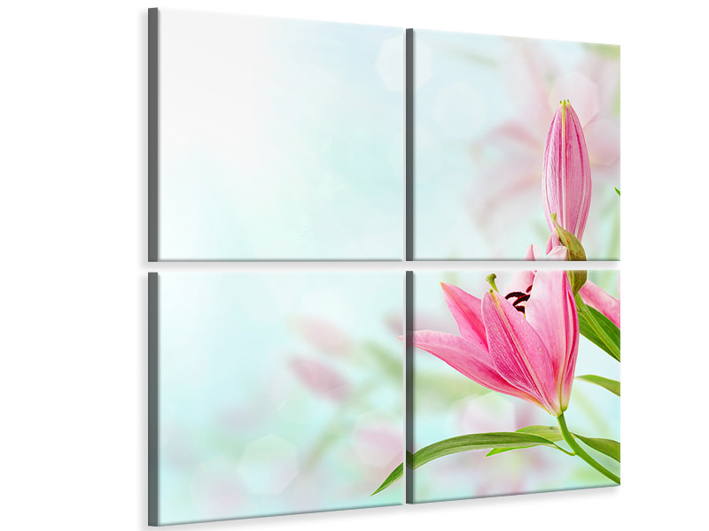 4 Piece Canvas Print Romantic Lilies