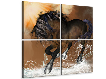 4 Piece Canvas Print Black Beauty