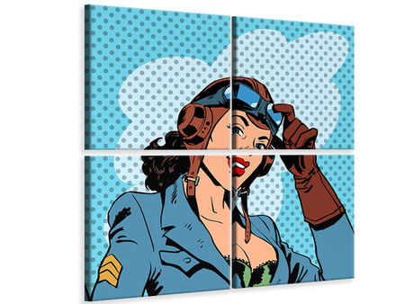 4 Piece Canvas Print Pop Art Pilot