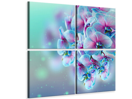 4 Piece Canvas Print Colored Orchids