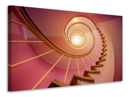 Canvas print Spiral staircase in pink