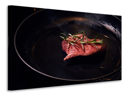 Canvas print Meat in the pan