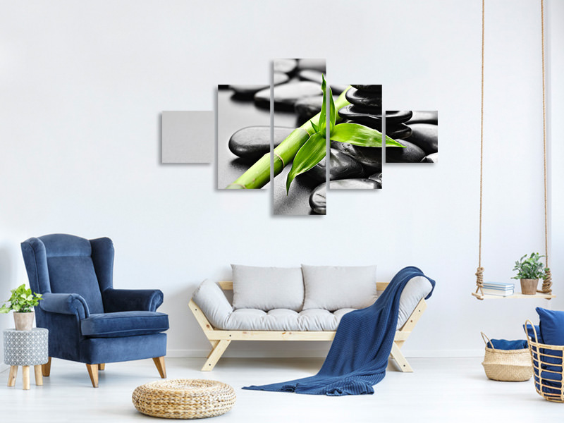 5 Piece Canvas Print Polished Stones