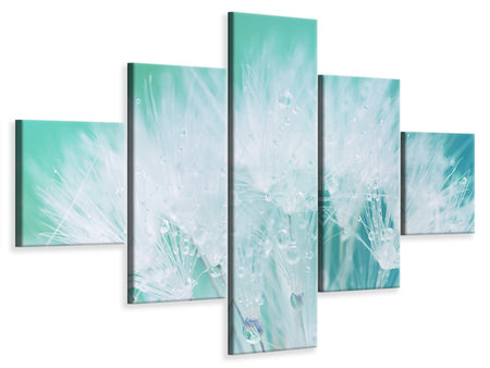 5 Piece Canvas Print Close Up Dandelion In Morning Dew