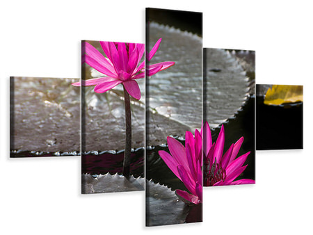 5 Piece Canvas Print Water Lily In The Morning Dew