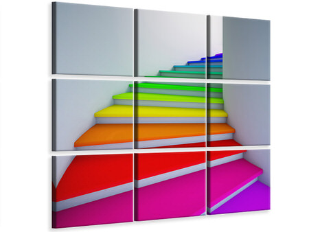 9 Piece Canvas Print Colorful Stairs